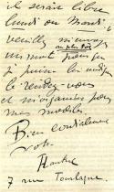 Ukázka Lautrecova rukopisu.