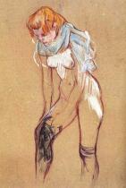 Žena oblékající si punčochy