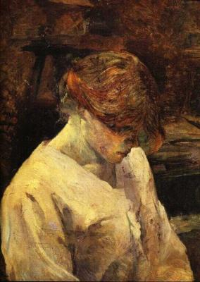 Zrzavá dívka v bílé kazajce
