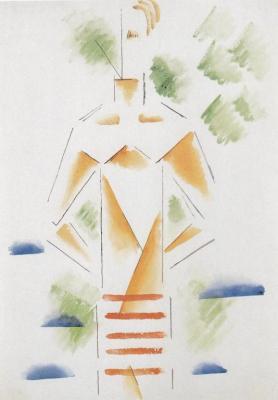 Stojící muž s rukama na zádech (asi 1915)