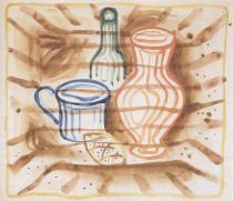 Váza, láhev, hrnek a houska (kolem roku 1925)