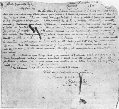 Dopis R. W. Griswoldovi z května 1841