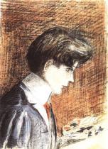 Egon Schiele: Autoportrét s paletou, 1905.