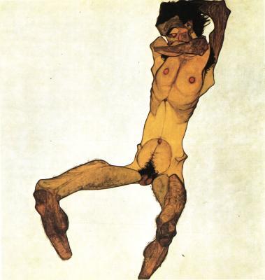 Egon Schiele: Sedící mužský akt (autoportrét), 1910