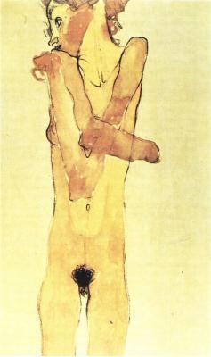Egon Schiele: Dívčí akt (sestra Gerti), 1910