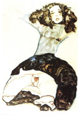 Egon Schiele: Tmavovlasá dívka s vyhrnutou sukní, 1911