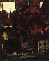 Egon Schiele: Pohled na domy a střechy v Českém Krumlově, 1911