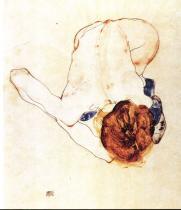 Egon Schiele: Ženský akt skloněný dopředu, 1912