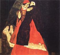 Egon Schiele: Kardinál a jeptiška, 1912