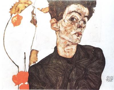 Egon Schiele: Autoportrét s čínskými lampiony, 1912