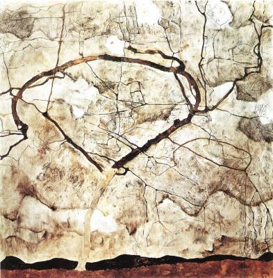 Egon Schiele: Podzimní strom v pohybu, 1912