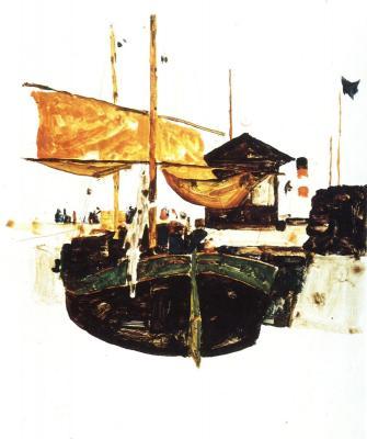 Egon Schiele: Lodě v Terstu, 1912