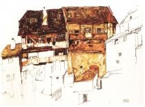 Egon Schiele: Staré domy v Krumlově, 1914