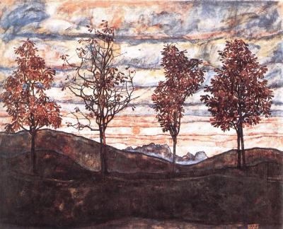 Egon Schiele: Čtyři stromy, 1917