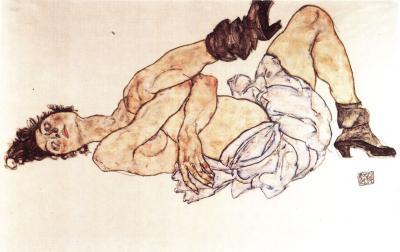Egon Schiele: Ležící žena (Akrobatka), 1917