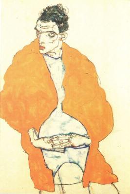 Egon Schiele: Autoportrét v červeném plášti, 1917