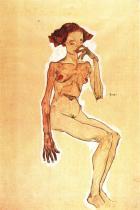 Egon Schiele: Sedící dívčí akt, 1910