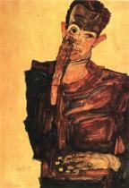 Egon Schiele: Autoportrét s rukou na tváři, 1910