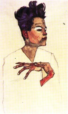 Egon Schiele: Autoportrét s rukama na prsou, 1910