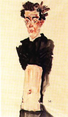 Egon Schiele: Autoportrét s obnaženým břichem, 1911