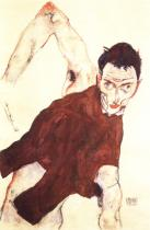 Egon Schiele: Autoportrét se zdviženým pravým loktem, 1914