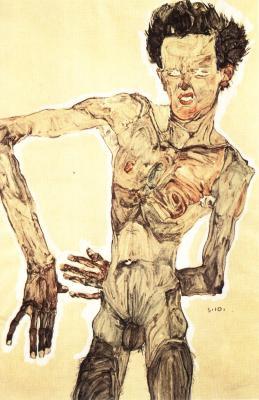 Egon Schiele: Autoportrét, akt, 1910