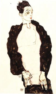Egon Schiele: Autoportrét ve fialové košili, 1914