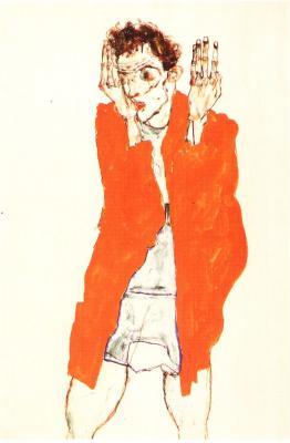 Egon Schiele: Autoportrét se zdviženými pažemi, 1914