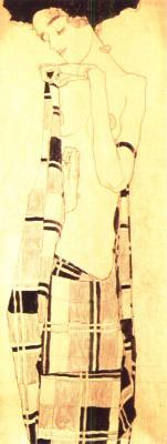 Egon Schiele: Stojící dívka v kostkovaném šátku, 1910