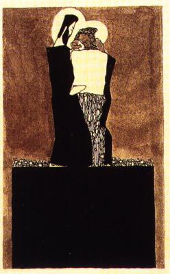 Egon Schiele: Dva muži se svatozáří, 1909