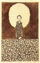 Egon Schiele: Dítě se svatozáří na louce s květinami, 1909