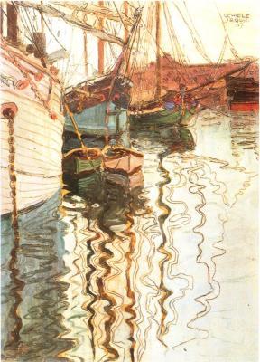 Egon Schiele: Plachetnice na vlnící se vodě, 1907