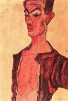 Egon Schiele: Šklebící se muž, 1910