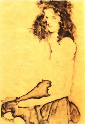 Egon Schiele: Černovlasá dívka, 1911