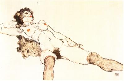 Egon Schiele: Ležící dívka s roztaženýma nohama, 1914
