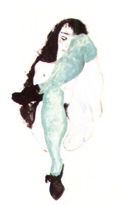 Egon Schiele: Ženský akt se zelenými punčochami, 1912