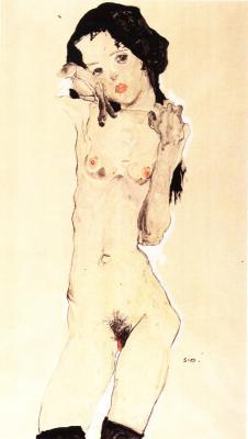 Egon Schiele: Stojící černovlasý dívčí akt, 1910