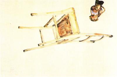 Egon Schiele: Organický pohyb židle a džbánu, 1912