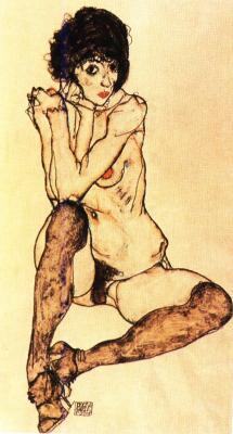 Egon Schiele: Sedící dívčí akt, 1914