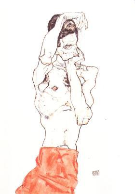 Egon Schiele: Stojící mužský akt s červenou bederní zástěrou, 1914