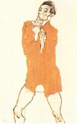 Egon Schiele: Autoportrét v košili, 1914
