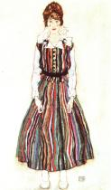 Egon Schiele: Edith Schielová v pruhovaných šatech, 1915/16