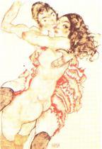 Egon Schiele: Dvě objímající se dívky, 1915