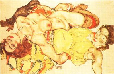 Egon Schiele: Dvě dívky v propletené poloze, 1915