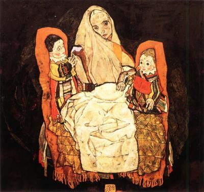 Egon Schiele: Matka s dvěma dětmi III, 1917