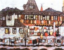Egon Schiele: Předměstský dům s prádlem, 1917