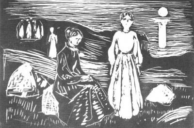Ženy o letní noci na mořském břehu