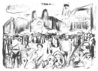 Zemdlelý dav na Frankfurtském nádraží