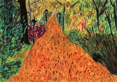 Cesta podzimním listím