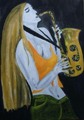 Saxofon hraje sólo